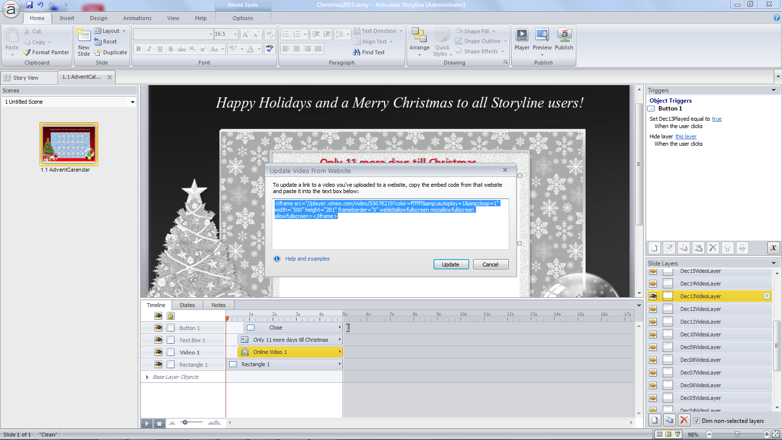Fun Project for the Holiday Season: Building an Advent Calendar in Storyline