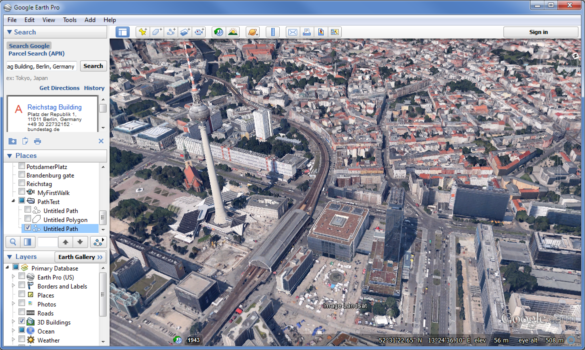 Google Earth Pro User Interface