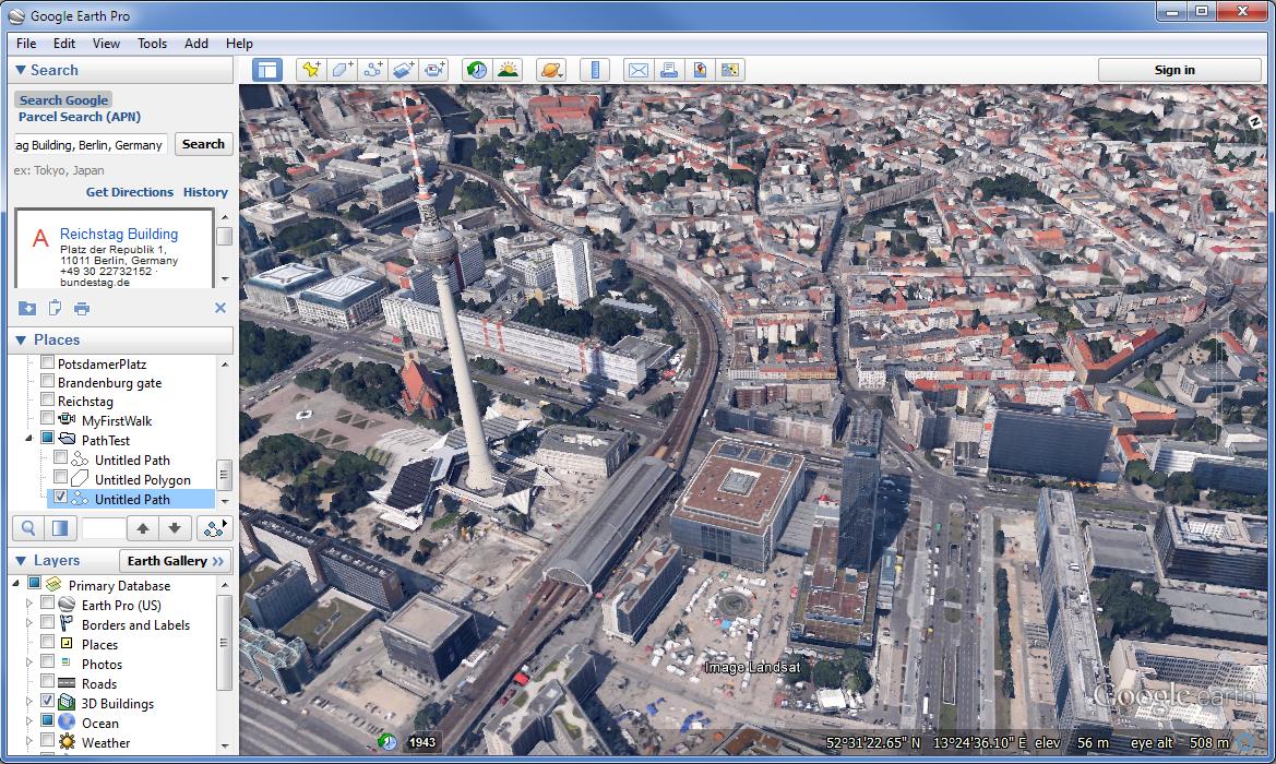 Google Earth Pro User Interface