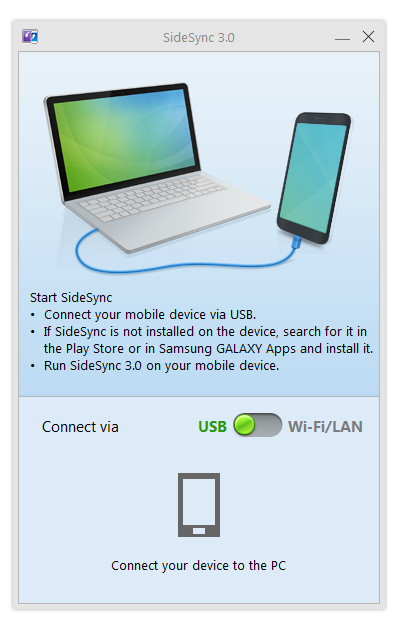 SideSync Connection window